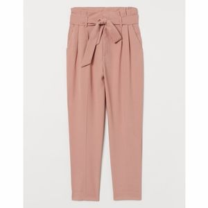 H&M Tie Front Paperbag Pink Trousers Pants